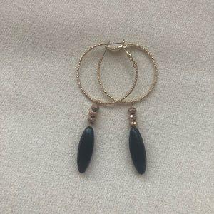 Jewelry - Handmade Beaded Earrings Black/Gold One of a kind